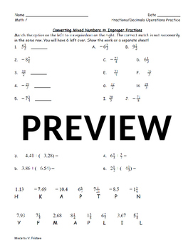 Fractions and Decimals Operations Practice
