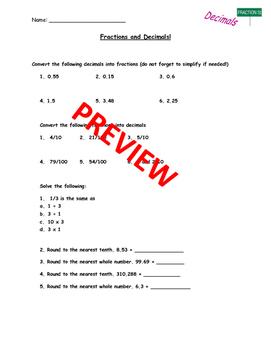 Fractions and Decimals Practice