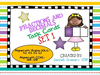 Fractions and Decimals Task Cards Set 1