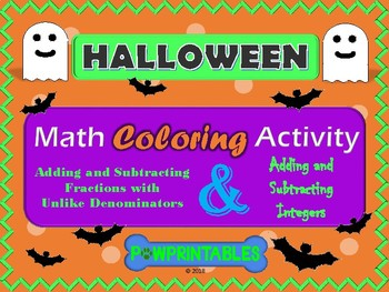 Fractions and Integers - Halloween Math Coloring Pictures-