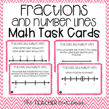 Fractions and Number Lines Task Cards for 3rd Grade