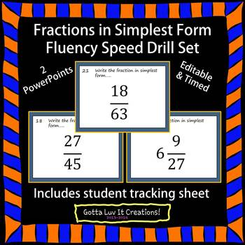 Editable Fractions Simplest Form Fluency - 2 PowerPoints