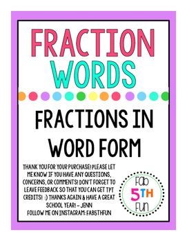 Fractions in Word Form