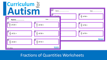 Fractions of Numbers Worksheets, Autism, Middle School Math