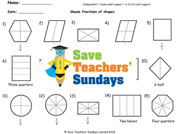 Fractions of shapes worksheets (4 levels of difficulty)