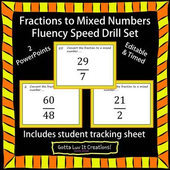 Editable Fractions to Mixed Numbers Fluency - 2 PowerPoints