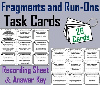 Fragments and Run-Ons Task Cards 3rd 4th 5th Grade