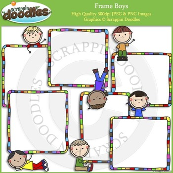 Frame Boys & Frame Girls Clip Art and Line Art Bundle