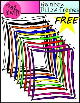 Frames ~ Clip Art FREEBIE ~ Rainbow Pillow Frames
