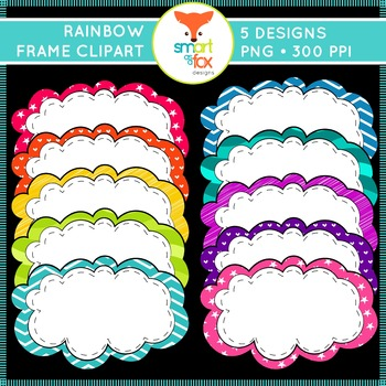 Frames Clip Art Rainbow Colors with Patterns