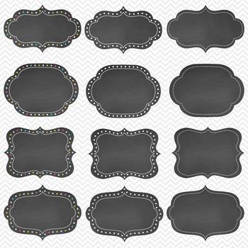 Clip Art: Frames - Dotted Chalkboard Frames/Labels