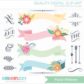 Frames - Floral Ribbons / Flower Ribbon Banners