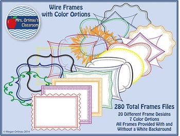 Frames: Wire Frames with Color Options (Set of 280)