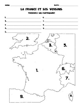 France and Bordering Countries: Partner Map
