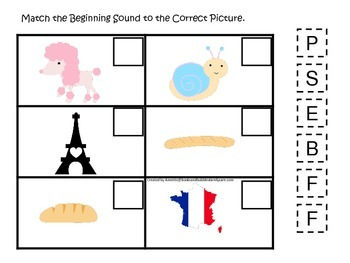 France themed Match the Beginning Sound preschool learning