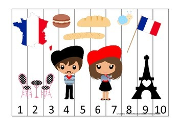 France themed Number Sequence Puzzle preschool learning ga