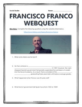 Francisco Franco - Webquest with Key