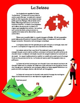 Francophone Culture Reading - Switzerland - with questions
