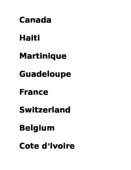 Francophone countries map labels