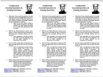 Frankenstein Bookmarks with Essential Questions & Lit Crit