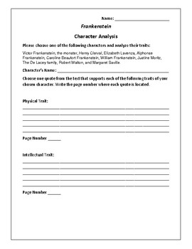 frankenstein character analysis If you're teaching frankenstein and need a character analysis lesson plan, here  you go: frankenstein character analysis lesson plan.