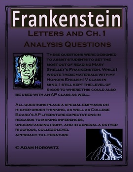 Frankenstein Letters & Chp. 1 Analysis Questions