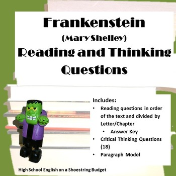 Frankenstein Reading and Critical Thinking Questions (Mary