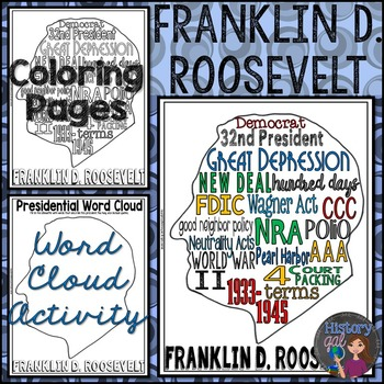 Franklin D. Roosevelt (FDR) Coloring Page and Word Cloud Activity