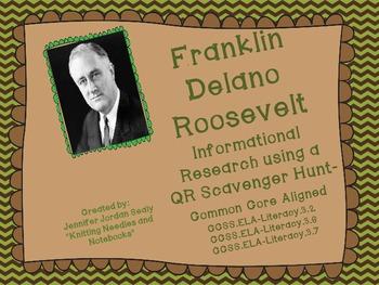 Franklin D. Roosevelt QR Code Informational Reading Activi