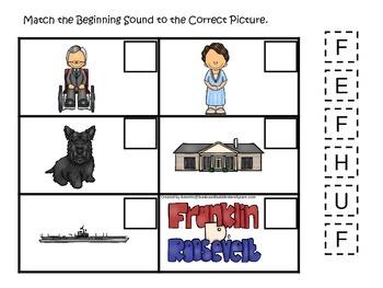 Franklin D Roosevelt themed Match the Beginning Sound.  Pr