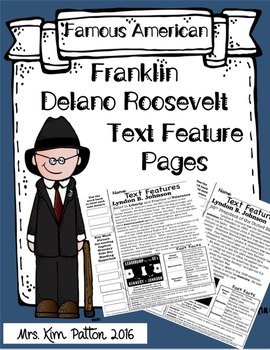 Franklin Delano Roosevelt Text Features Page - FDR