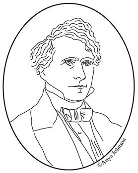 Franklin Pierce (14th President) Clip Art, Coloring Page o