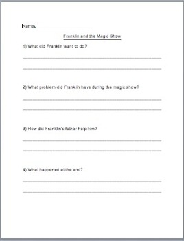 Franklin and the Magic Show - Reading Comprehension Questions