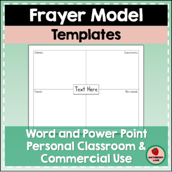 Frayer Model Template Editable Classroom or Commercial Freebie