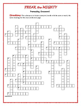 Freak the Mighty: 50-word Prereading Crossword--Use with B