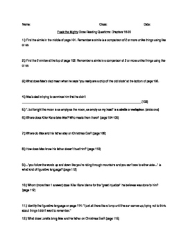 Freak the Mighty Close Reading Questions Chapters 16-20
