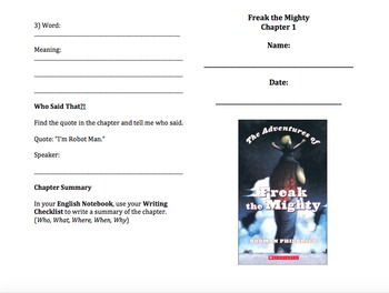 Freak the Mighty Guided Reading (chapter by chapter)