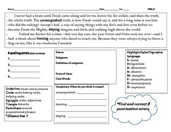 Freak the Mighty-Lesson 1 Common Core (grades 5-8)