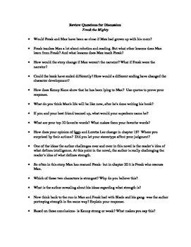 Freak the Mighty Review Questions