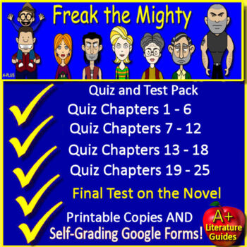 Freak the Mighty Novel Study Test Bundle Common Core Aligned