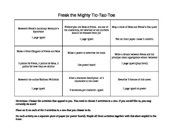 Freak the Mighty Tic Tac Toe Activity Board