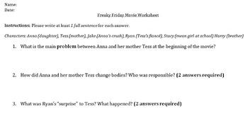 Freaky Friday Movie Worksheet