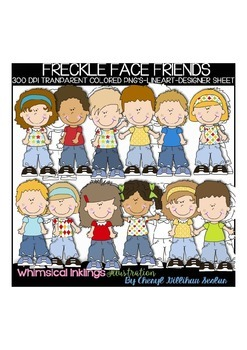 Freckle Face Kids Clipart Collection