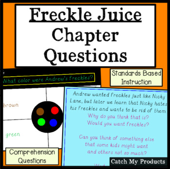 Freckle Juice Comprehension Questions for Promethean Board