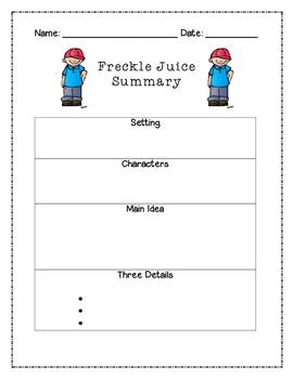 Freckle Juice Summary Graphic Organizer