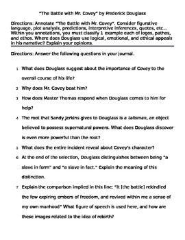 """Frederick Douglass: """"Battle with Mr. Covey"""" Questions"""