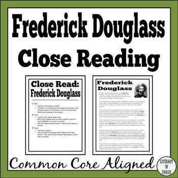 Frederick Douglass Close Read (Vocabulary, Comprehension,