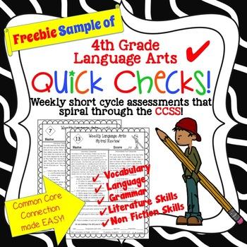 Free 4th Grade LA Common Core Spiral Quick Checks!