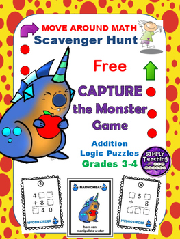 Free Addition Scavenger Hunt Puzzle Game Grades 2-4 Go Monsters