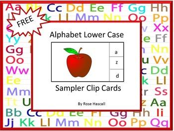 Alphabet Free Lower Case Clip Cards Sampler
